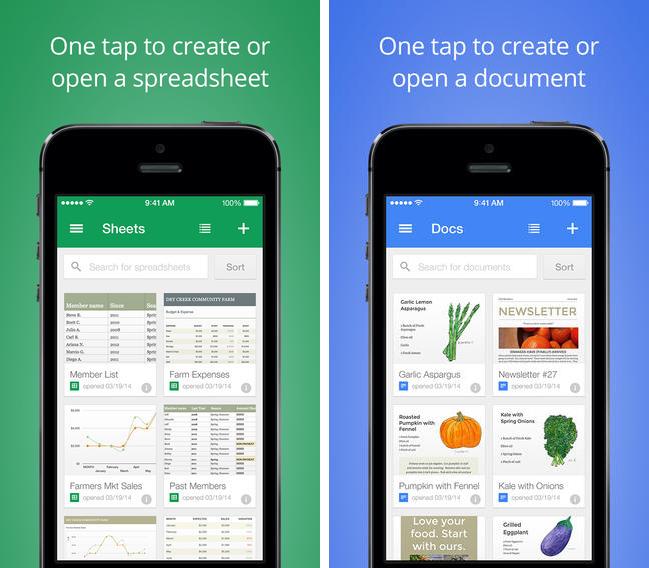 Google Docs & Sheets Mobile Apps