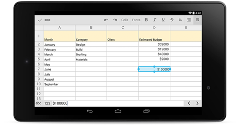 Google Sheets Mobile