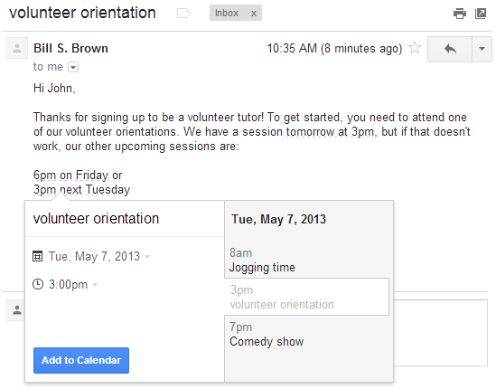 Gmail Add Events to Calendar