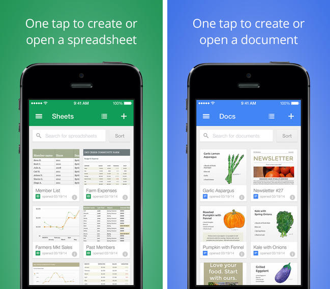 Google Docs & Sheets Mobile Apps